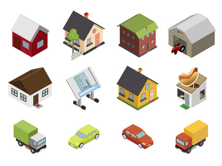 Isometric Retro Flat Cars House Real Estate Icons and Symbols Set Isolated Vector Illustration Ilustração