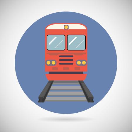 train: Railway Train Transport Carriage Railroad Rail Modern Flat Detailed Icon on Stylish Background  Design Vector Illustration