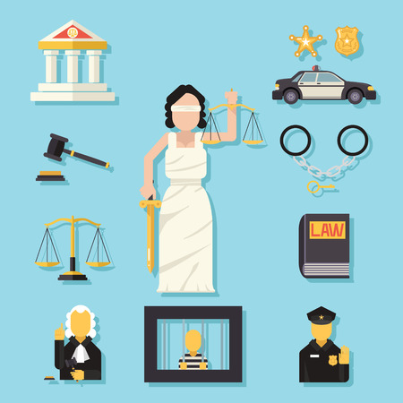 criminal justice: Themis Femida with scales sword symbol of law justice flat icons set vector illustration