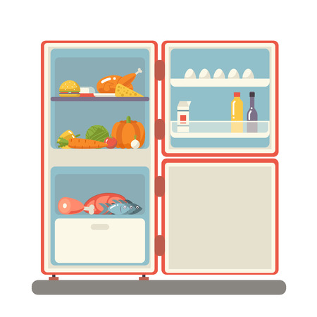 refrigerator: outdoor refrigerator with food products icon trendy flat design vector illustration