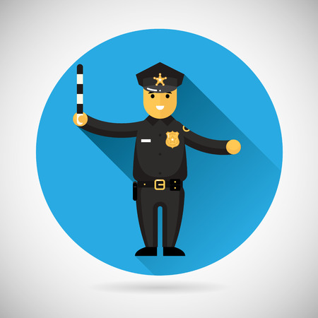 adjusting: Police officer character with adjusting rod icon protection law order symbol on Stylish Background Modern Flat Design Vector Illustration