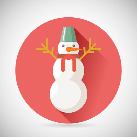 snowman vector: Snowman Character Icon New Year Christmas Symbol with long shadow on Stylish Background Flat Design Vector Illustration Illustration