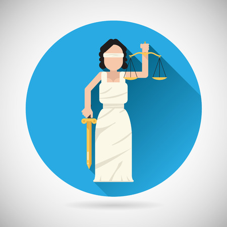 justness: Themis Femida character with scales and sword icon law justice symbol flat vector illustration