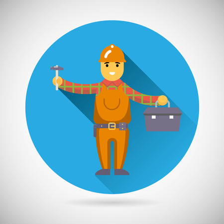 repairer: Worker repairer character with hammer toolbox icon construction repair symbol on Stylish Background Modern Flat Design Vector Illustration