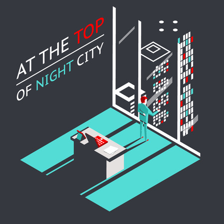 Businessman at the top of a night city in Penthouse office workroom with laptop and documents isometric flat design concept  vector illustration Vector