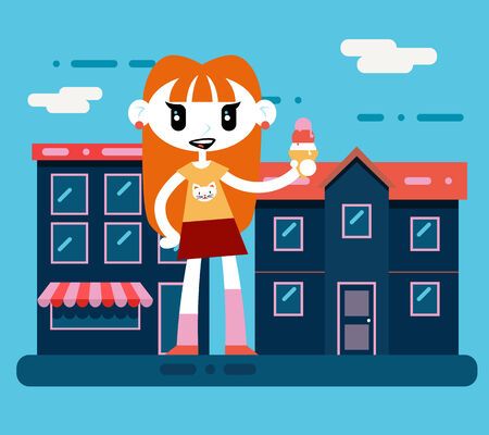 Happy smiling hipster geek cartoon girl character with icecream at city street background flat design vector illustration.jpg Vector