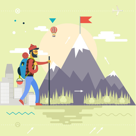 man hiking: Backpack Hiking Mountain Climber Symbol Travel Concept of Planning Vacation Man Geek Hipster Rock Forest City Background Retro Flat Design Icon Template Vector Illustration