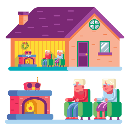 happy couple house: Happy smiling elderly family couple sitting in chairs front of fireplace home radio interior private ownership house flat design concept vector illustration Illustration