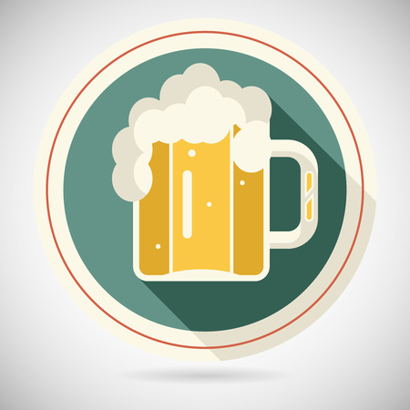 condense: Beer Mug with Foam Retro Symbol Alcohol Icon long shadow on Stylish Background Flat Design Template Vector Illustration