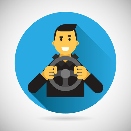 Happy Smiling Driver Character with Car Wheel Icon Ride Driving City Symbol Flat Design Element Vector Illustration Ilustracja