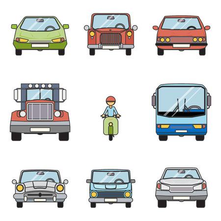 front wheel: Modern Flat Design Symbols Stylish Retro Car Icons Set Isolated