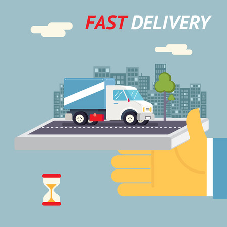 delivery package: Fast Free Delivery Symbol Shipping Hourglass Timer Sandglass Icon Truck on Stylish City Background Hand Holding Mobile Cell Phone Flat Design Template Vector Illustration Illustration