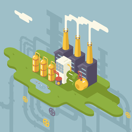 Isometric Retro Flat Factory Refinery Plant Manufacturing Products Processing Natural Resources with Distribution Network Pipes Concept Vector Illustration Vector