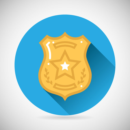 enforcement: Police officer bage icon protection law order symbol on Stylish Background Modern Flat Design Vector Illustration