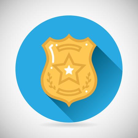 Police officer bage icon protection law order symbol on Stylish Background Modern Flat Design Vector Illustration