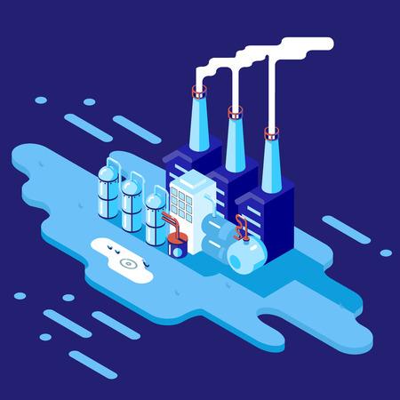 ressources naturelles: Isom�triques Retro Flat usine Refinery Plant fabrication de produits en transformation des ressources naturelles avec les tuyaux du r�seau de distribution Concept Illustration Vecteur