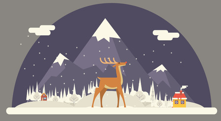 christmas in the city: Deer Rudolph Winter Snow Countryside Landscape City Village Real Estate New Year Christmas Night and Day Background Modern Flat Design Icon Template Vector Illustration