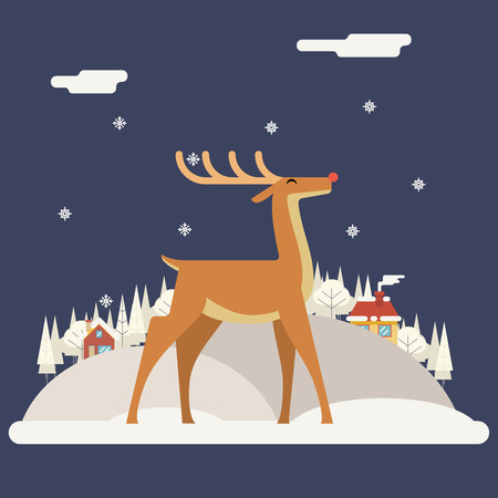 rudolph the red nosed reindeer: Deer Rudolph Winter Snow Countryside Landscape City Village Real Estate New Year Christmas Night and Day Background Modern Flat Design Icon Template Vector Illustration
