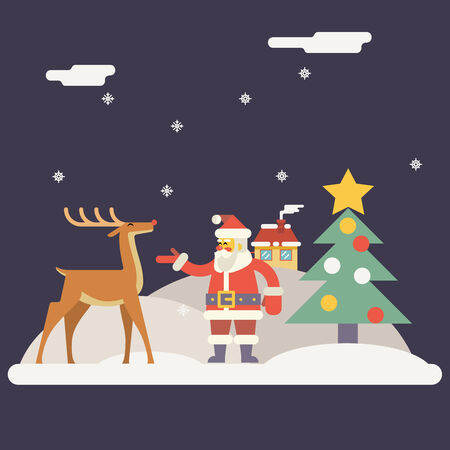 red nosed: Winter Santa Claus and Rudolph Deer Characters New Year Landscape Christmas Icon Greeting Card Flat Design Vector Illustration