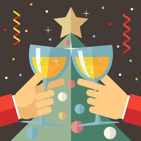 brindisi champagne: New Year Celebration successo e prosperità simbolo mani detiene una bicchieri di bevanda icona su Stylish Christmas Tree Background Illustrazione moderna piatto Vector Design