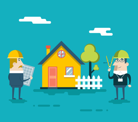 settling: Happy Builder Designer Engineer Foreman Characters House Real Estate Fence Tree Icon Concept Flat Design Vector Illustration Illustration