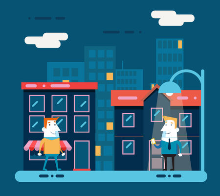 night suit: Happy smiling businessman cartoon character walk at night city street background flat design vector illustration