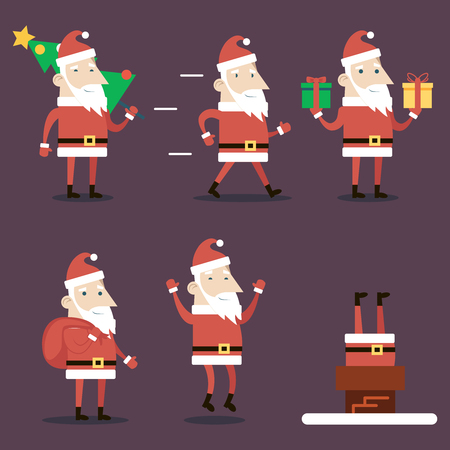 santa claus hats: Santa Claus Cartoon Characters Set Poses Emotions Christmas New Year Icons  on Stylish Background Flat Design Vector Illustration