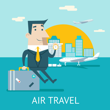 private jet: Happy Cartoon Businessman Character Travel Lifestyle Concept of Planning Vacation Tourism and Journey Symbol Airplane Airport City Flat Design Icon Template Vector Illustration Illustration
