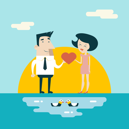 marriage proposal: Love Male and Female Cartoon Characters Valentines Day Icons Greeting Card Concept Stylish Background Flat Design Template Vector Illustration Illustration