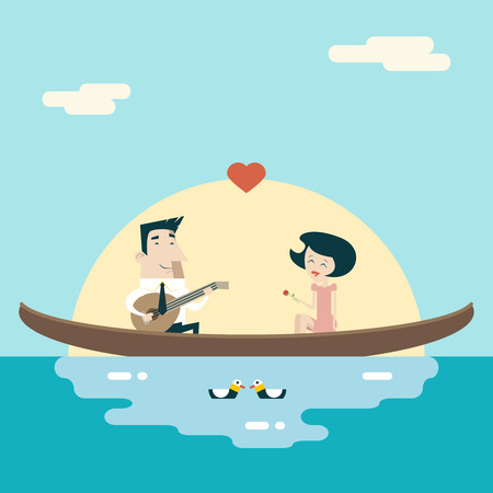 young relationship: Love Male and Female on Gondola Cartoon Characters Valentines Day Icons Greeting Card Concept Stylish Background Flat Design Template Vector Illustration