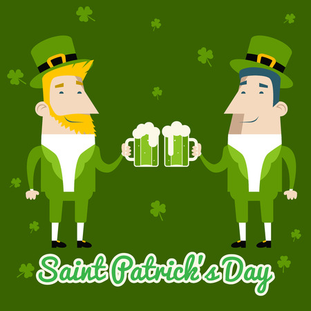 saint patrick's day: Saint Patricks Day Celebration Cartoon Characters Symbol Mug of Beer with Foam Icon on Stylish Clover Background Greeting Card Flat Design Vector Illustration Illustration