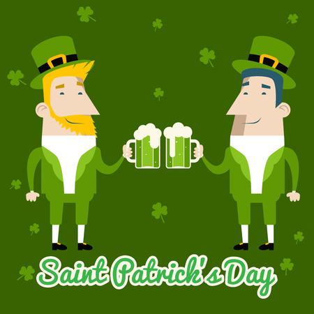 celebration cartoon: Saint Patricks Day Celebration Cartoon Characters Symbol Mug of Beer with Foam Icon on Stylish Clover Background Greeting Card Flat Design Vector Illustration Illustration