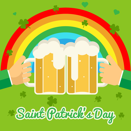 overflow: Saint Patricks Day Celebration Success and Prosperity Symbol Hands Holds Mug of Beer with Foam Icon on Stylish Background Greeting Card Flat Design Vector Illustration