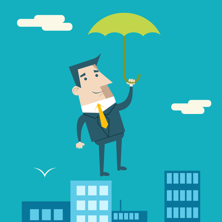 manager: Businessman Cartoon Character Umbrella Business and Marketing Security and Insurance Plan Concept on Urban Sky Background Modern Flat Design Template Vector Illustration