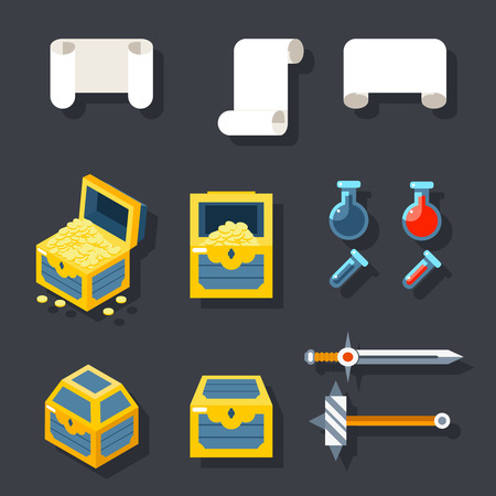 rpg: RPG Game Accessories Icons Set Scrolls Treasure Chests Potions Weapons Flat design Icon Template Vector Illustration