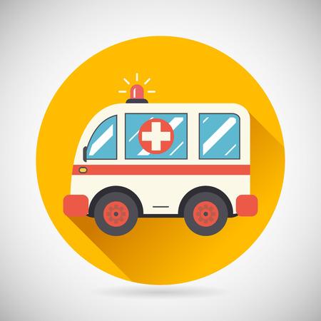 ambulances: Ambulance Car Hastens Aid Rescue Icon Treatment Symbol on Stylish Background Modern Flat Design Vector Illustration
