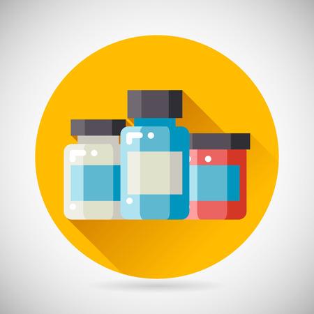 vial: Drug Cure Medicine Box Vial Bottle Jar Icon heal treatment symbol Stylish Background Modern Flat Design Vector Illustration