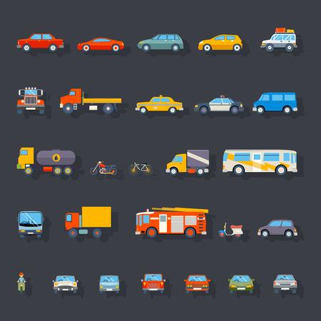 transportation: Élégant Retro Car Line Icônes isolés Symboles de transport Illustration Vecteur Illustration