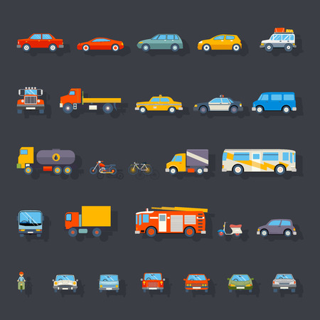 fire car: Stylish Retro Car Line Icons Isolated Transport Symbols Vector Illustration