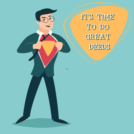 geek: Happy Smiling Businessman Turns Superhero Suit under Shirt Icon on Stylish Background Retro Cartoon Design Vector Illustration