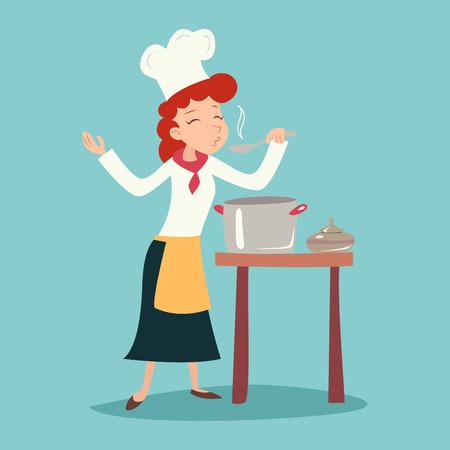スタイリッシュな背景のベクトル イラストのレトロな漫画の料理食品アイコンを試飲、幸せに微笑んでいるヴィンテージのチーフでクックの女の子