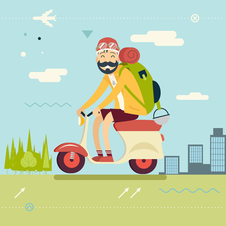 adventure travel: Happy Smiling Man Geek Hipster with Traveler Backpack on Schooter Icon Travel Lifestyle Planning a Summer Vacation Tourism and Journey Symbol Forest City Background Flat Design Template Vector Illustration Illustration
