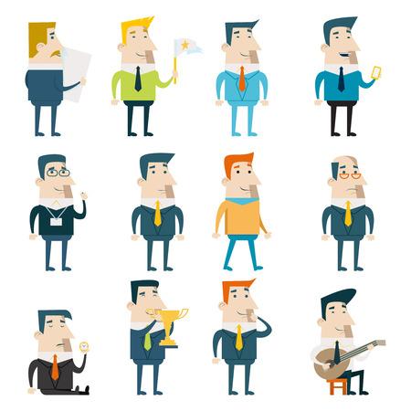 Businessman Cartoon Characters Business Marketing Icons Set Concept Flat Design Template Vector Illustration