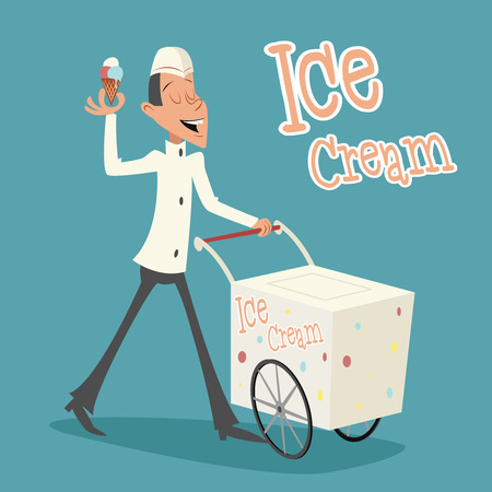 merchant: Happy Smiling Ice Cream Seller Cart Retro Vintage Cartoon Character Icon on Stylish Background Retro Cartoon Design Vector Illustration