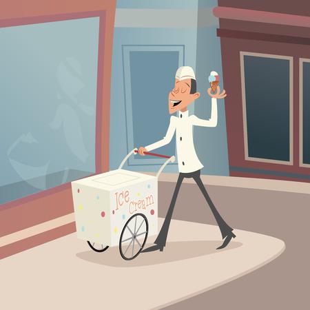 carretto gelati: Sorridente Felice Ice Cream venditore Carrello Retro Vintage icona dei cartoni animati su sfondo elegante Illustrazione retrò Cartoon Vector Design