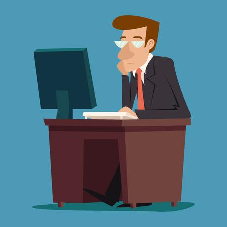 Businessman Character desk working on computer on Stylish Background Retro Cartoon Design Vector Illustration