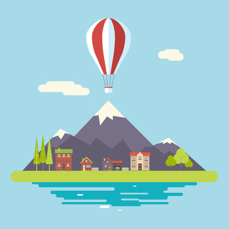 Advertisement Commercial Promotion House Village Mountains Sky Modern Flat Design Icon Summer Landscape Background Template Vector Illustration