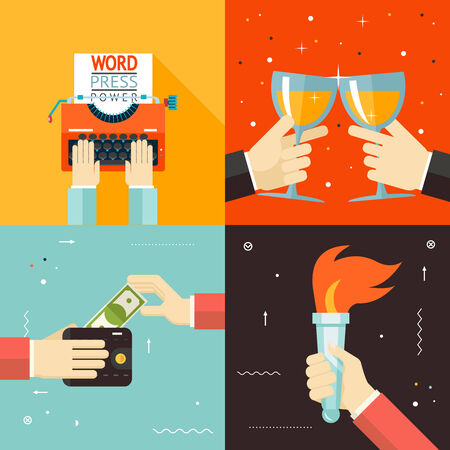 mass media: Wallet Payment Word Power Mass Media Victory Celebration Success Hands Icon Stylish Background Modern Flat Design Vector Illustration Illustration