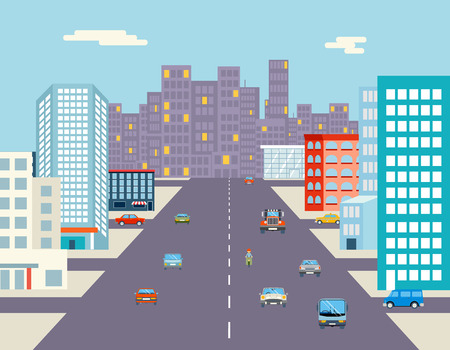 road block: car ride driving street background flat vector illustration