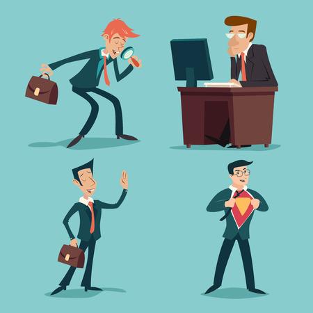 Retro personajes de dibujos animados del hombre de negocios conjunto vendimia Fondo Con Estilo Icono Retro Ilustración de dibujos animados de diseño vectorial